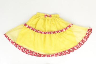 Tillu Pillu Solid Girl's Regular Yellow Skirt