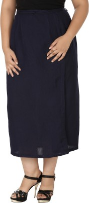 Eves Pret A Porter Solid Women's Wrap Around Dark Blue Skirt