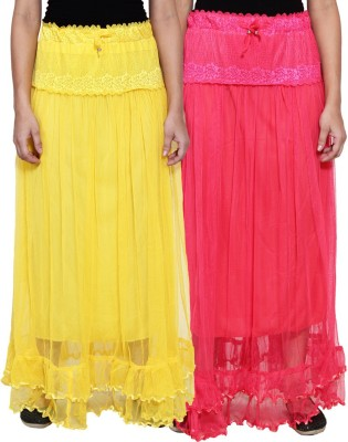 NumBrave Self Design Women's Layered Yellow, Pink Skirt