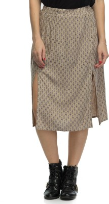 Oxolloxo Printed Women's A-line Beige Skirt at flipkart