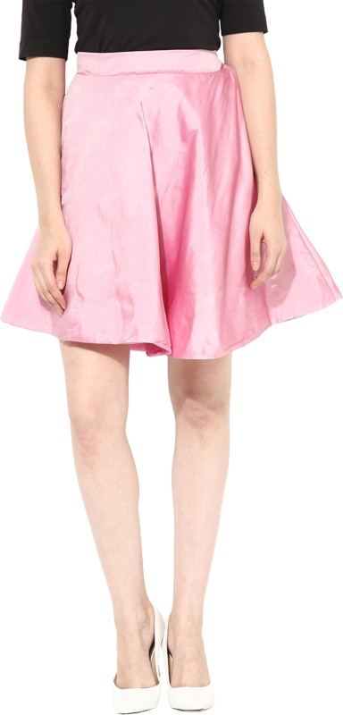 Miss Chase Solid Women's Straight Pink Skirt