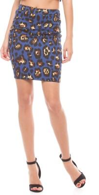 Shuffle Self Design Women's Regular Blue Skirt