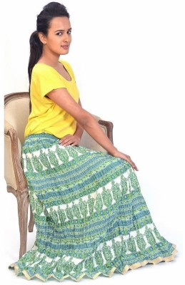 Sunshine Striped Women's Regular Green Skirt