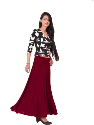 Ace Solid Women's A-line Maroon Skirt