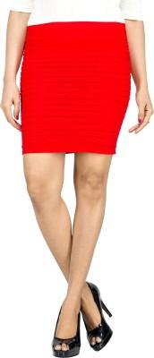 UberPlush Solid Women's Pencil Orange Skirt