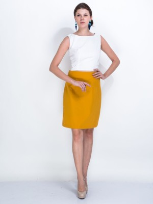 Sugar Her Solid Women's Pencil Yellow Skirt