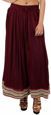 Indi Bargain Solid Women's A-line Maroon Skirt