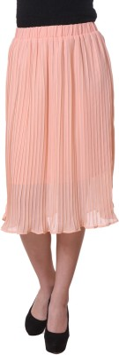 Purys Solid Women's Pleated Pink Skirt