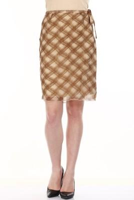 Mustard Checkered Women's Straight Brown, Beige Skirt