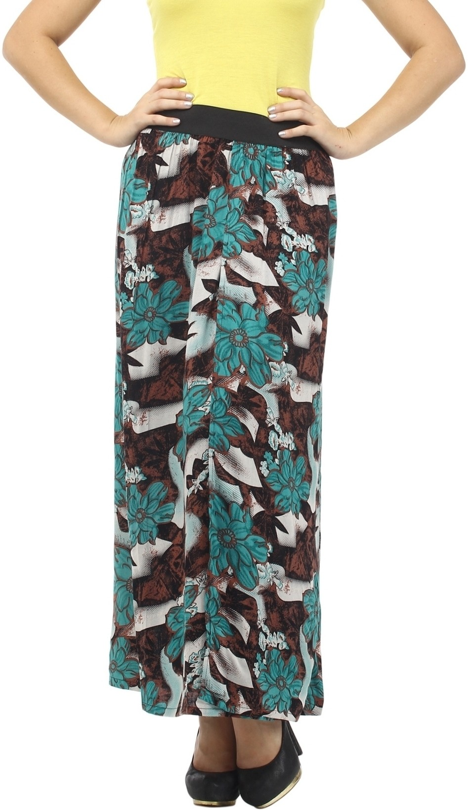Cottinfab Floral Print Womens Straight Green, Multicolor Skirt