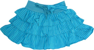 Garlynn Polka Print Girl's Layered Blue Skirt