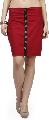 Glam and Luxe Solid Women's Pencil Red Skirt