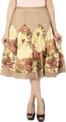 India Inc Floral Print Women's A-line Beige, Yellow Skirt