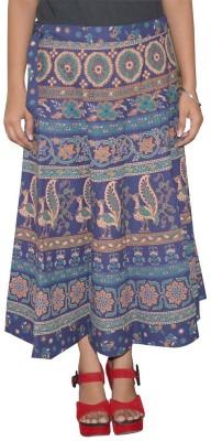 Marwari Fashion Printed Women's Wrap Around Blue Skirt