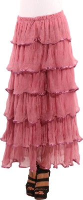 Showoff Solid Women's Layered Pink Skirt