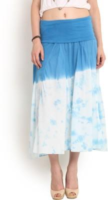 Trend Arrest Solid Women,s Gathered Light Blue Skirt