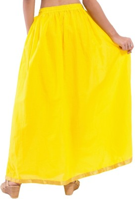 Decot Paradise Solid Women's Regular Yellow Skirt