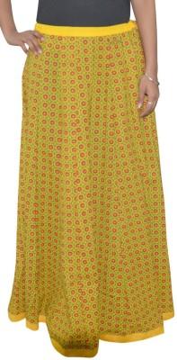 Shreeka Printed Women's Straight Green, Red Skirt