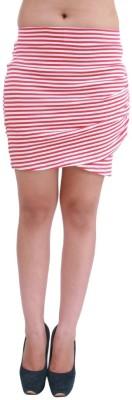 Hypernation Striped Women's A-line Red, White Skirt
