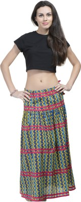 Aana Printed Women's Straight Blue Skirt