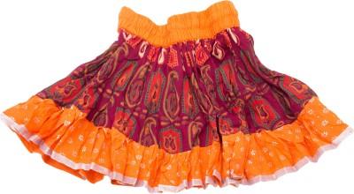 BigCart Printed Baby Girl's Straight Orange Skirt