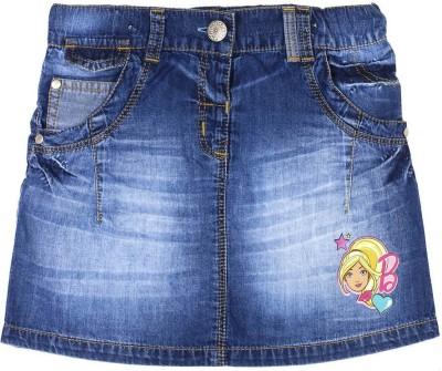 Barbie Printed Girl's A-line Blue Skirt