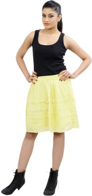 CrazeVilla Solid Women's Straight Yellow Skirt