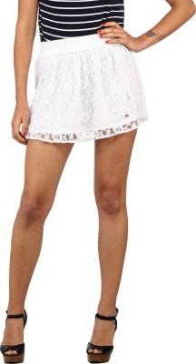 Ozel Solid Women's Regular White Skirt