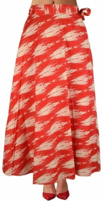 DConcept Printed Women's Wrap Around Red Skirt