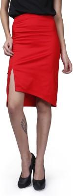 GarrB Solid Women's Pencil Red Skirt