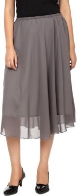 Tops and Tunics Solid Women's Regular Grey Skirt