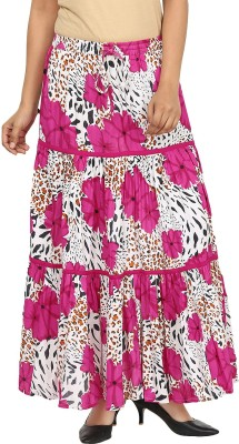 Pops N Pearls Floral Print Women's Broomstick Pink Skirt