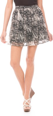 Shuffle Printed Women's Pleated Grey Skirt