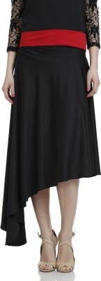 Hugo Chavez Solid Women's Asymetric Black Skirt at flipkart