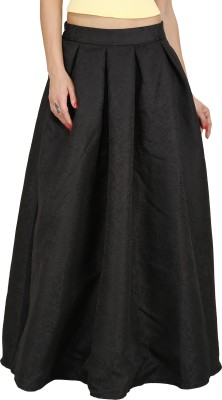 Svt Ada Collections Printed Women,s Regular Black Skirt