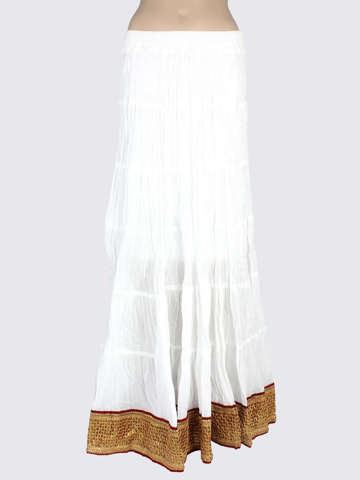 Mina Bazaar Solid Womens A-line White Skirt