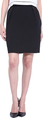 Leo Sansini Solid Women,s Straight Black Skirt