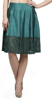 Glam and Luxe Solid Women's Pleated Green Skirt