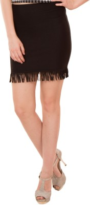 Showoff Solid Women's Pencil Black Skirt