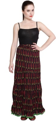 Pistaa Printed Women's A-line Black Skirt
