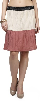 Glam and Luxe Solid Women's Pleated Beige, Red Skirt