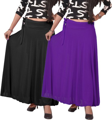carrol Solid Women's A-line Black, Purple Skirt