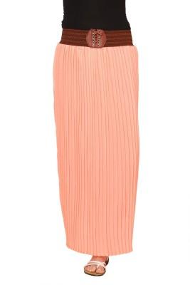 Rvestir Solid Women's Pleated Orange Skirt