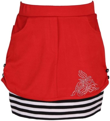 LEI CHIE Self Design Girl's A-line Red Skirt