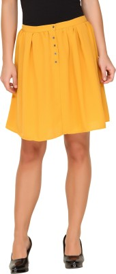 Amari West By INMARK Solid Women's A-line Yellow Skirt