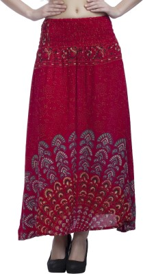 Indi Bargain Printed Women's A-line Red Skirt