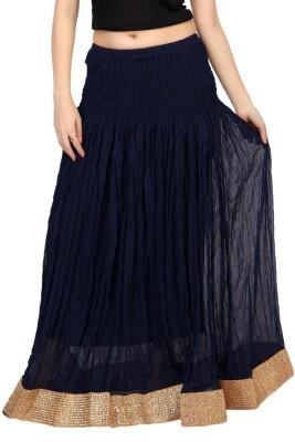 Carrel Solid Women's Wrap Around Dark Blue Skirt