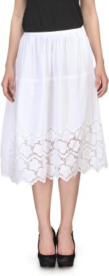 India Inc Embroidered Women's Gathered White Skirt