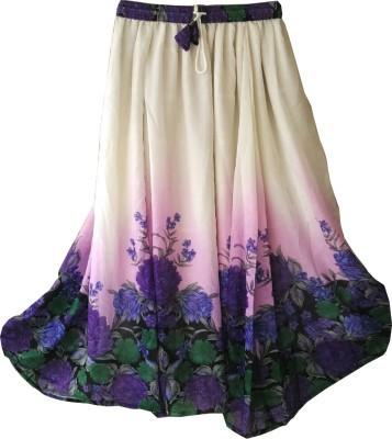 Fashion Ritmo Printed Women's Regular White, Blue Skirt