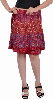 Indi Bargain Floral Print, Printed Women's Wrap Around Maroon Skirt